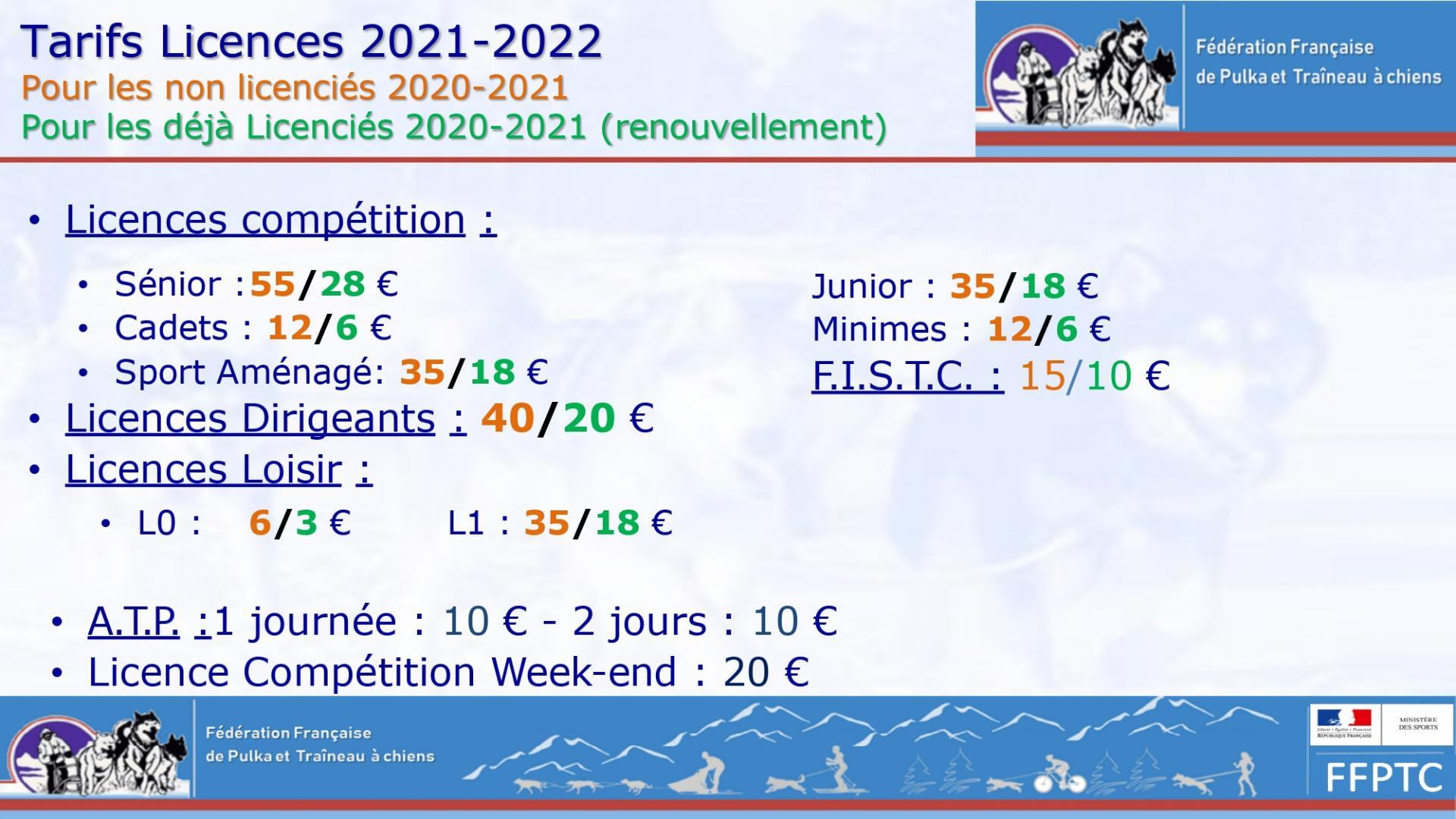 Formulaires de demande de licence 2021-2022